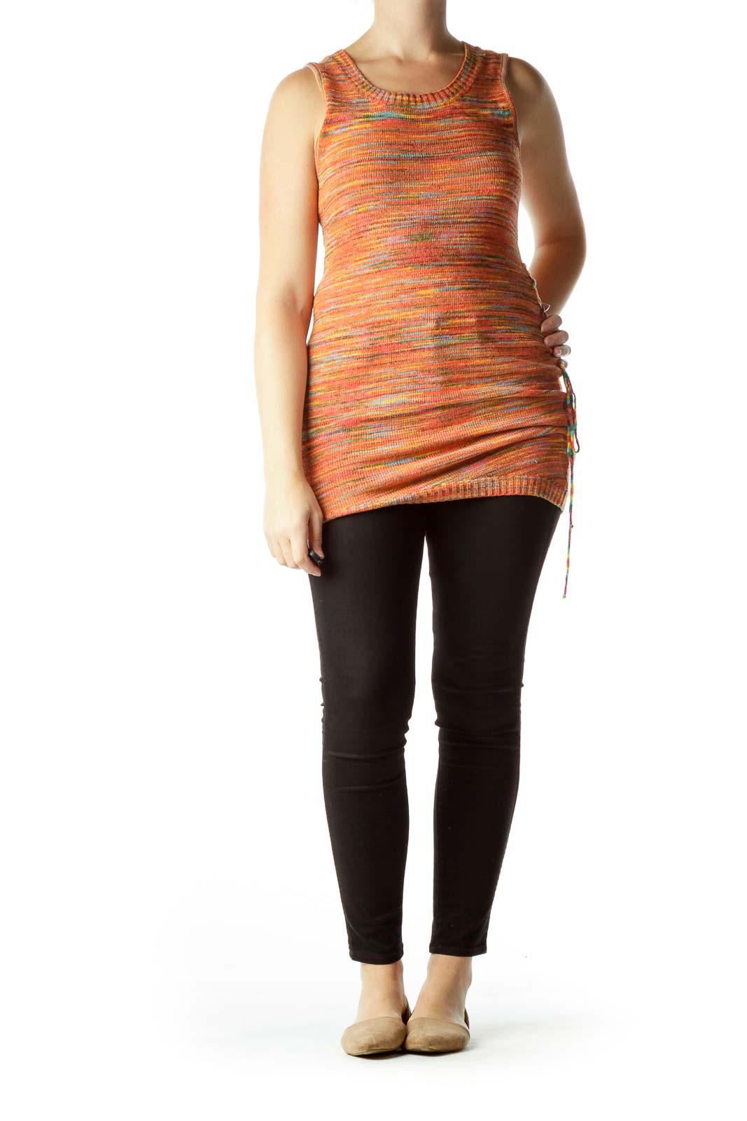 Orange Mottled Knit Vest