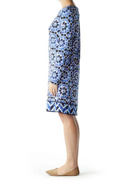 Blue White Print Long Sleeve Dress