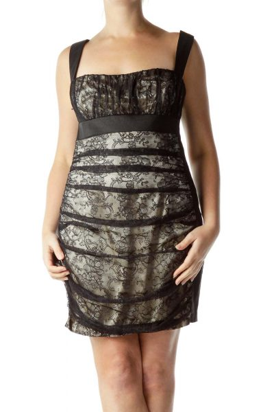 Black Lace Open-Back Cocktail Dress