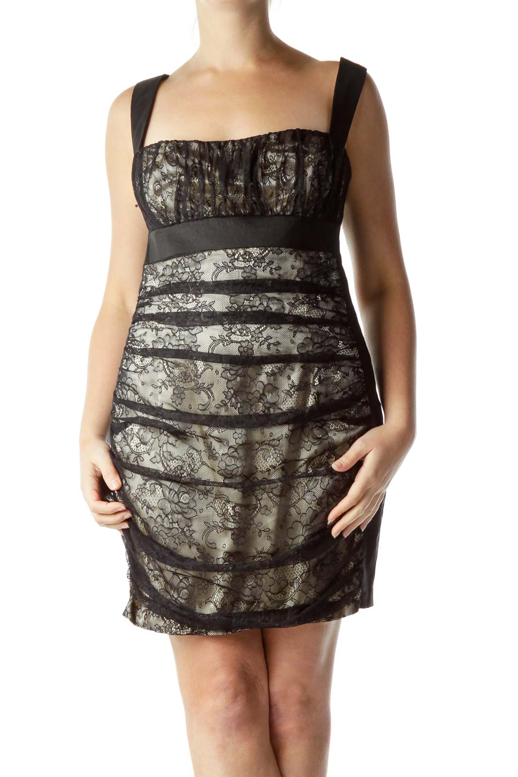 4cf1be004d5 Jessica McClintock. Black Lace Open-Back Cocktail Dress ...