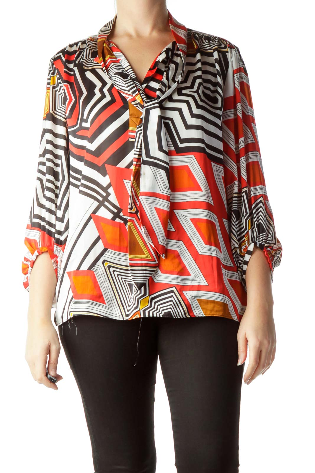 f3c1782ec01834 Multicolored Geometric Print Blouse ...