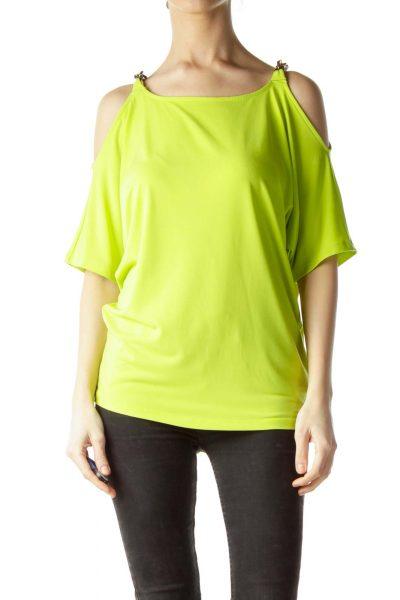 Fluorescent Green Shoulder Chains Blouse
