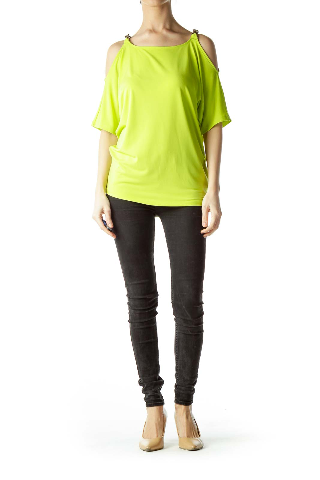67e49fbe1ab439 Fluorescent Green Shoulder Chains Blouse Fluorescent Green Shoulder Chains  Blouse