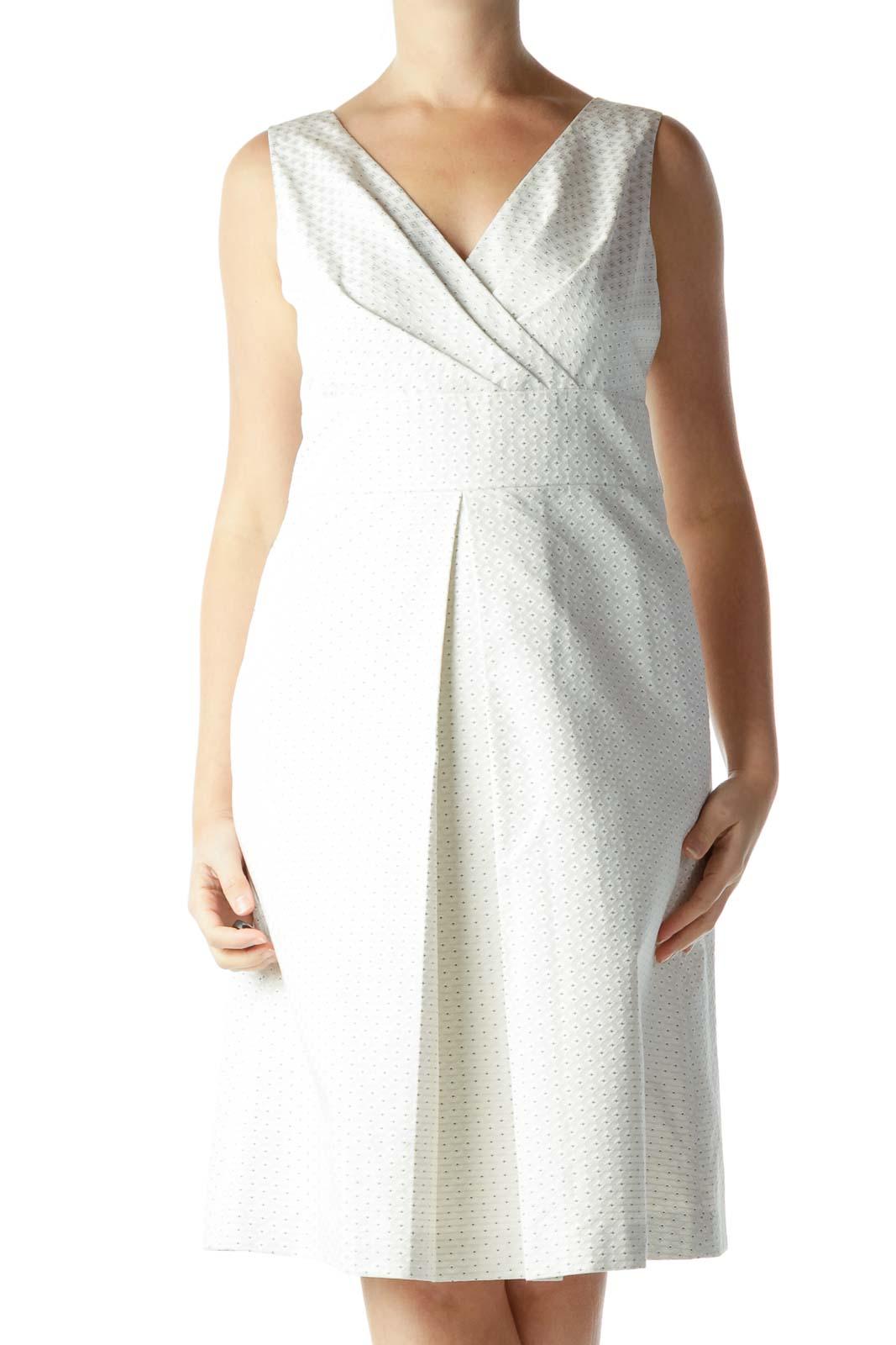 Cream Pocketed Jacquard Dress