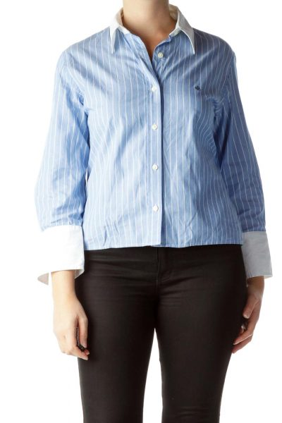 Blue White Pinstripe 100% Cotton Shirt