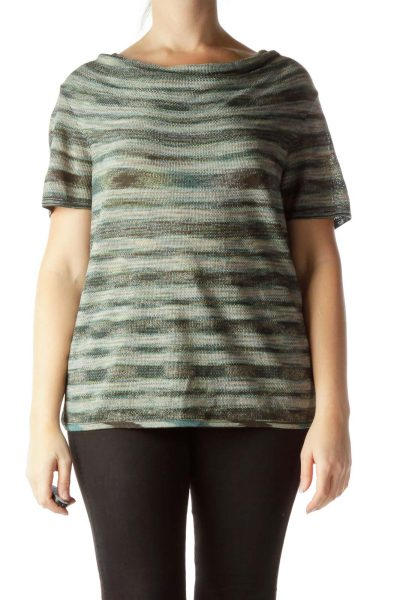 Green Print Cowl Neck Short Sleeve Knit Top