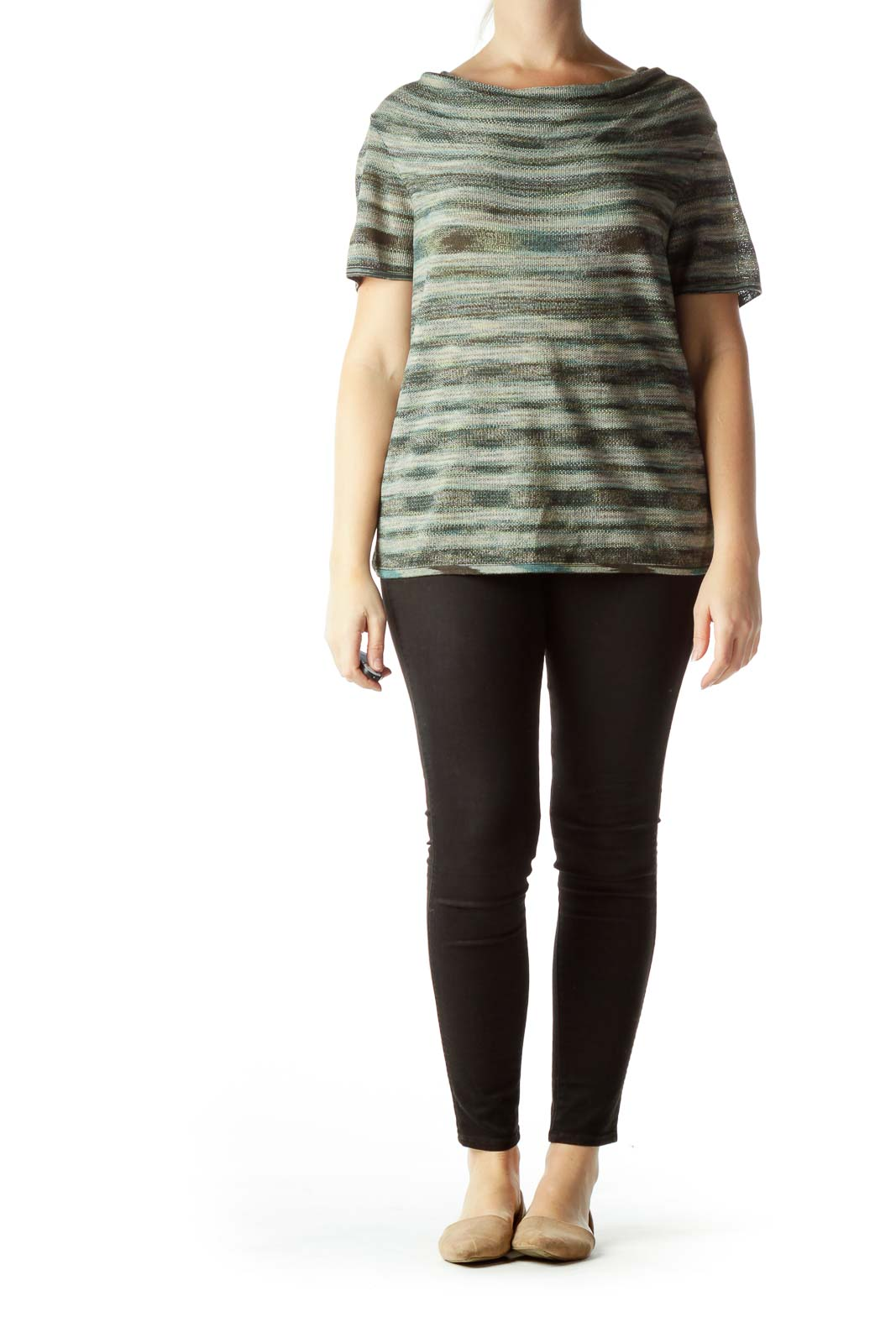 Green Print Cowl Neck Short Sleeve Knit Top