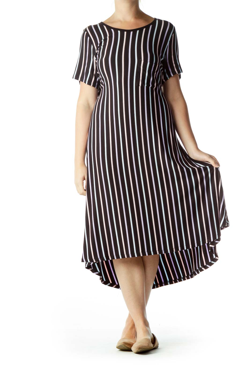 Black Purple Pinstripe Jersey Dress