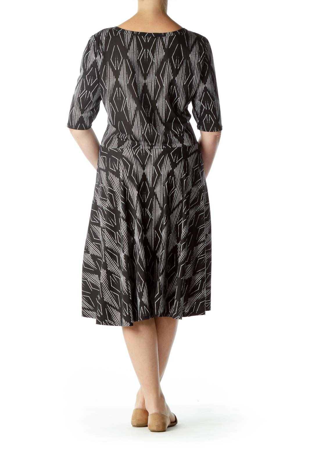 Black White Printed Round Neck Jersey Dress