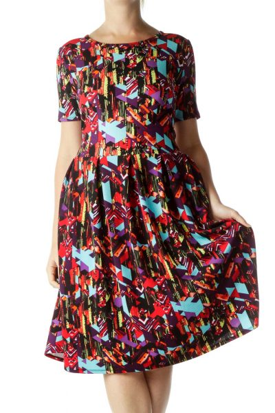 Red Multicolor Print Empire Waist Dress