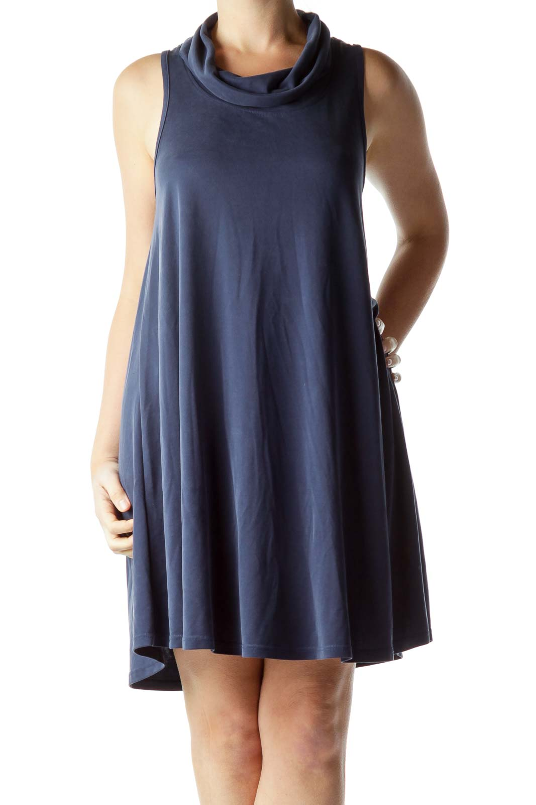 Blue Cowl Neck Shift Dress