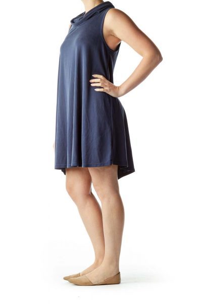 Blue Cowl Neck Shift Dress