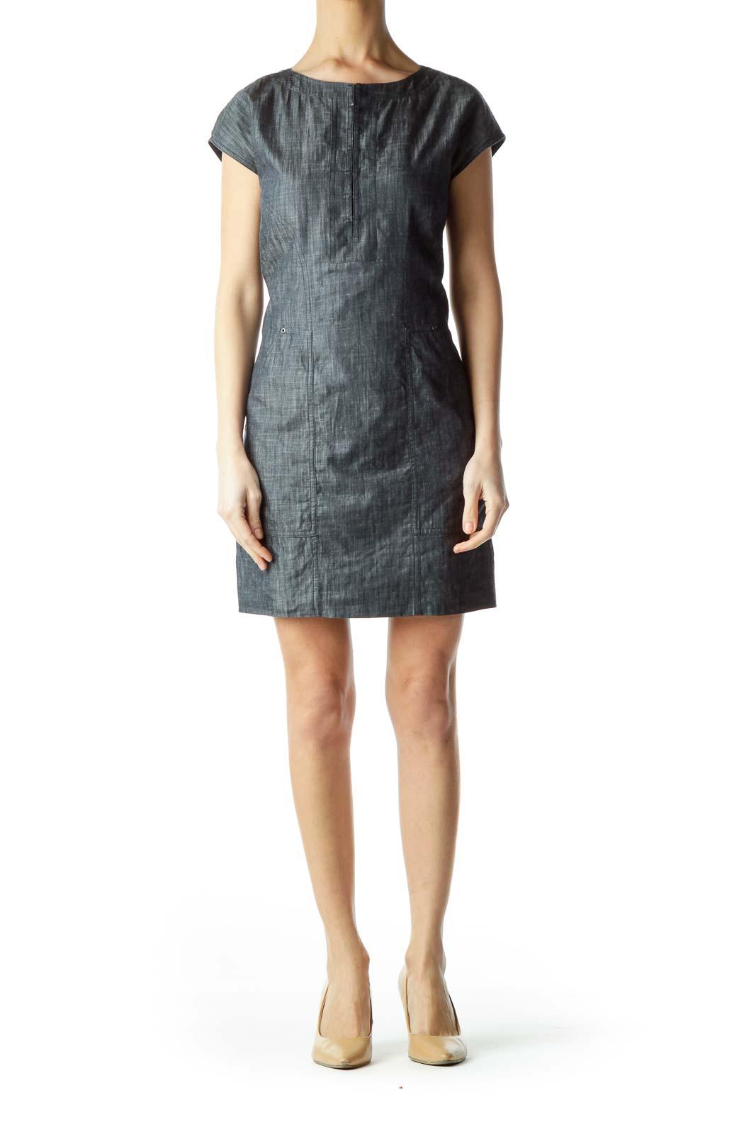 Blue Round Neck Pocketed Denim Dress