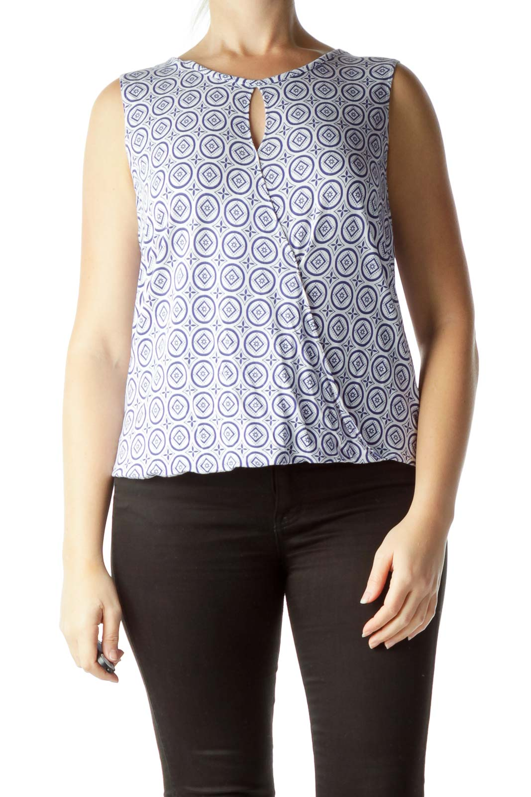 Blue White Print Front Cut-Out Blouse