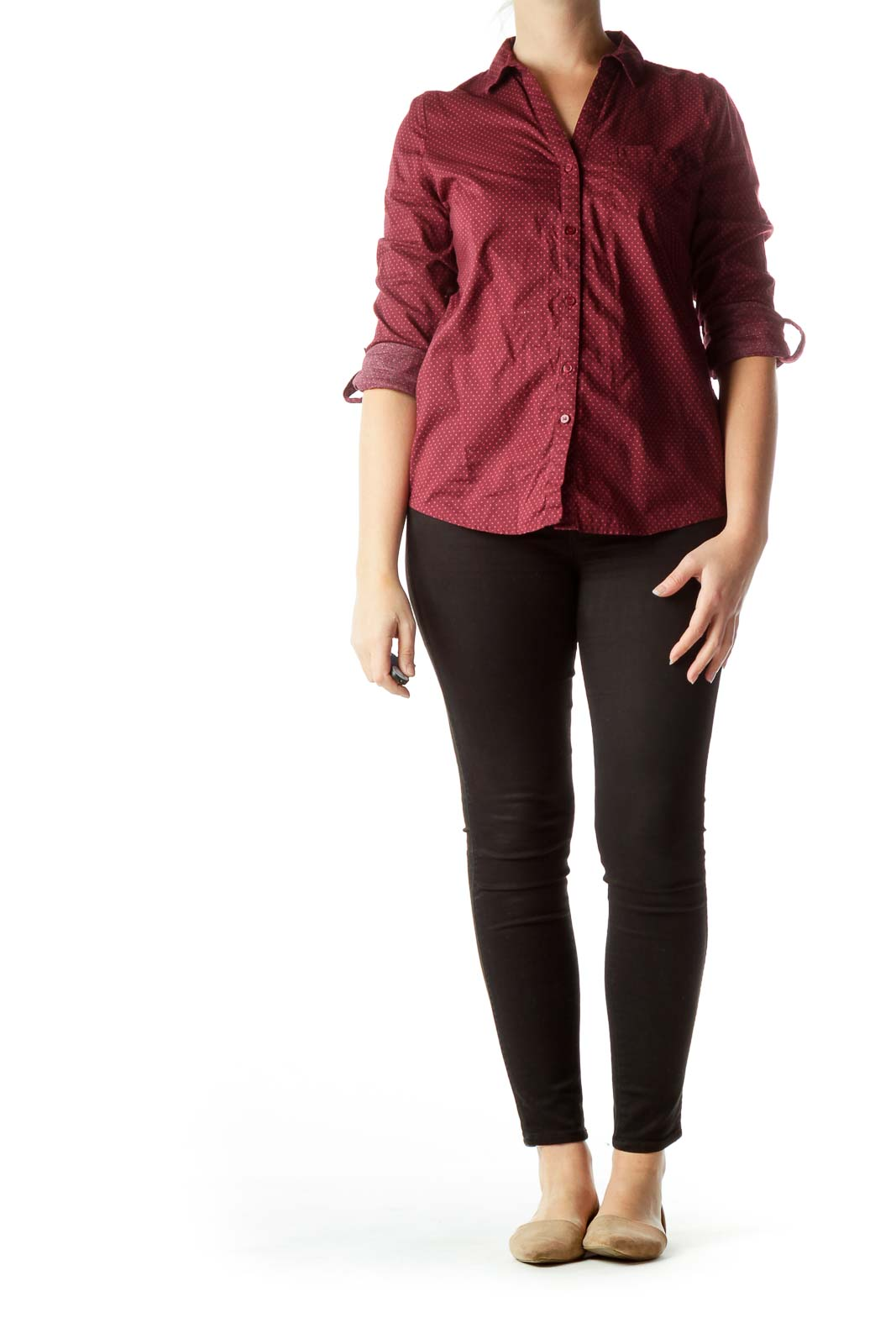 Burgundy Polka-Dot 100% Cotton Shirt