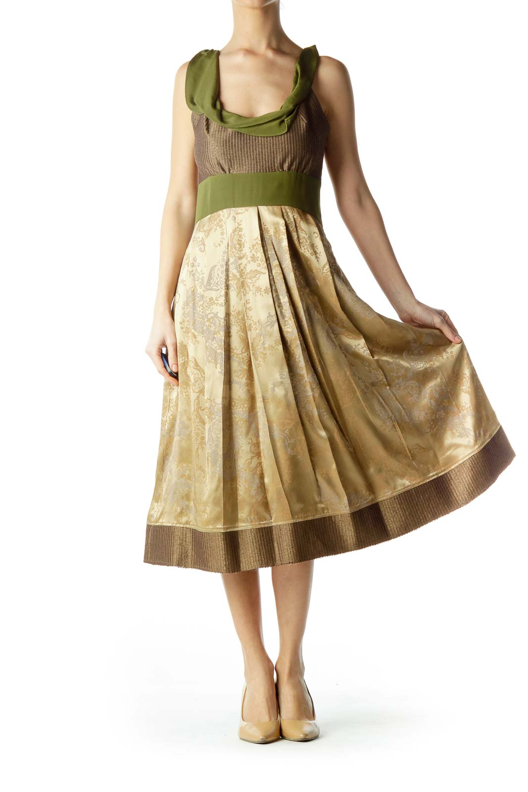 Gold Green Silk Print Dress