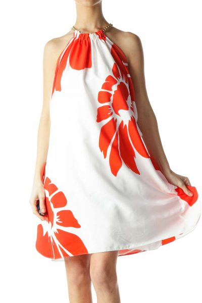 Cream Red Floral Print Gold Chain Strap Dress