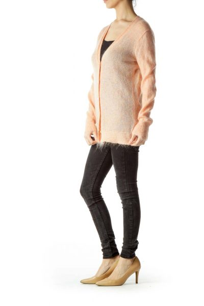 Coral Orange Long Sleeve Cardigan