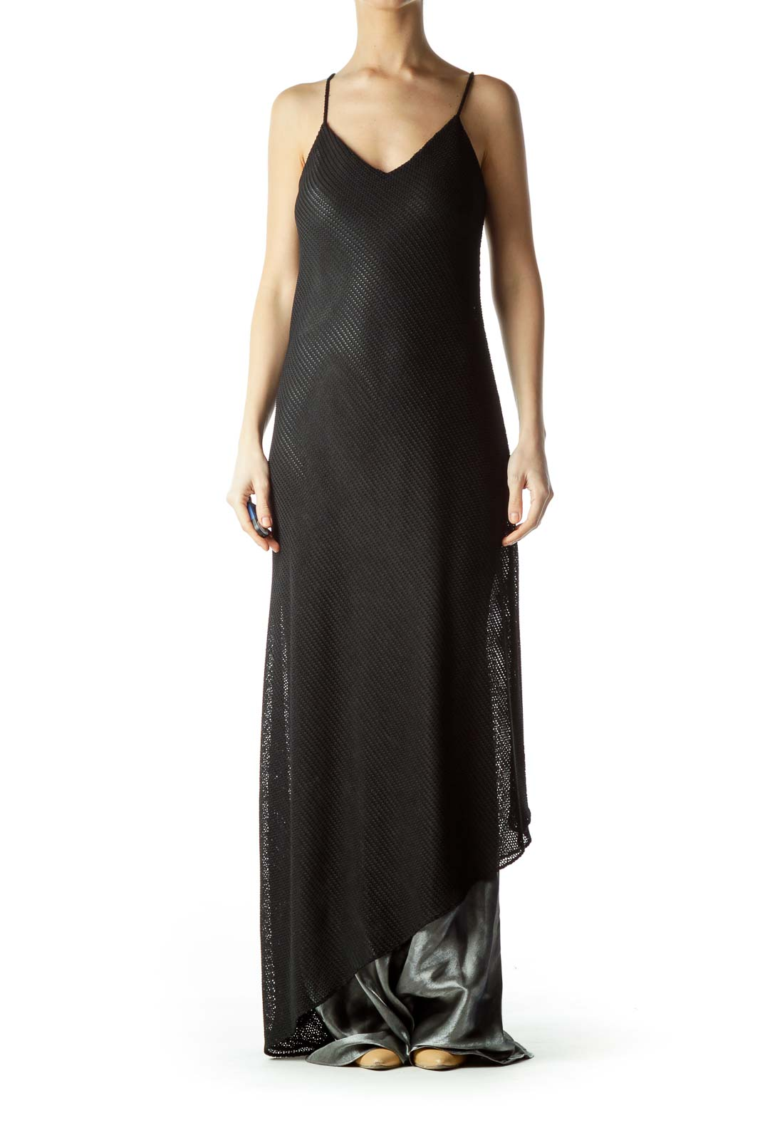 Black Cable Knit Spaghetti Strap Maxi Dress