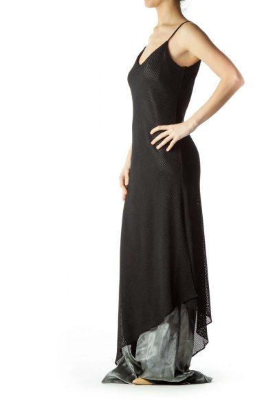 Black Cable Knit Spaghetti Strap Maxi Dress