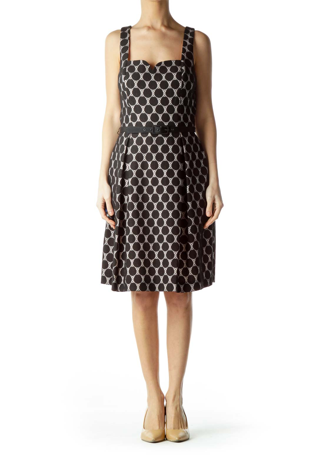 Black & Pink Lace Polka Dot Sleeveless Work Dress
