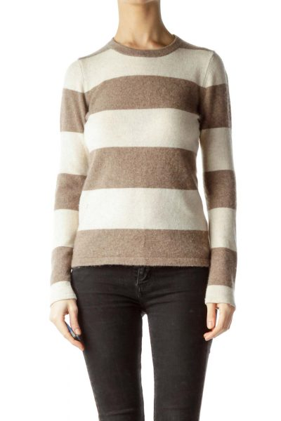 Brown Beige Striped 100% Cashmere Sweater