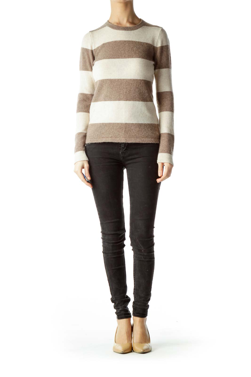 Brown Beige Striped 100% Cashmere Sweater