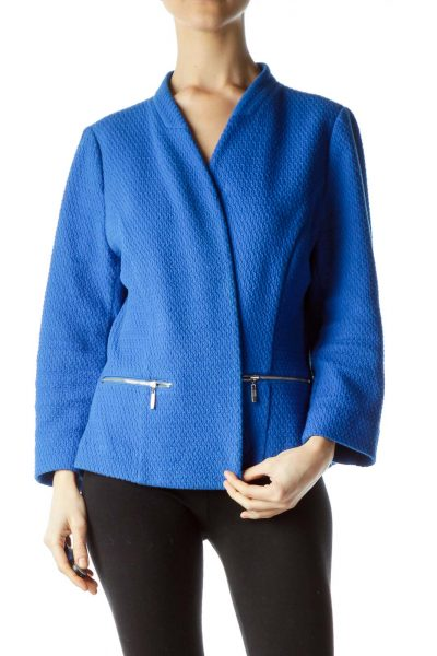 Blue Textured Open Front Jacket