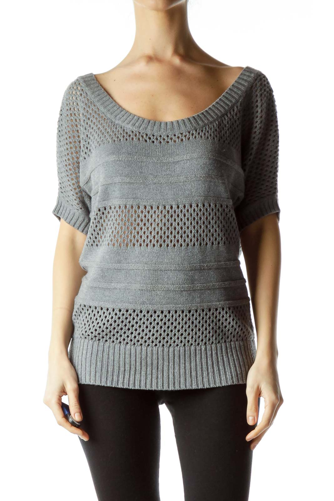 Gray Short Sleeve Knit Sweater