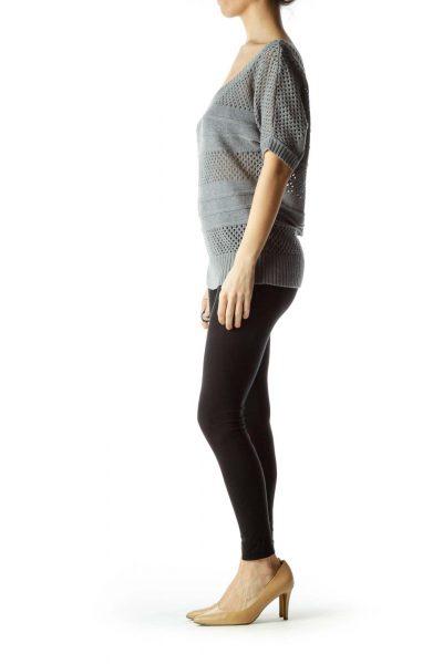 Gray Short Sleeve Knit Sweater