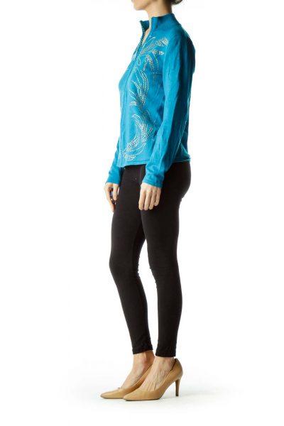 Blue Studded Zip-up Sweater