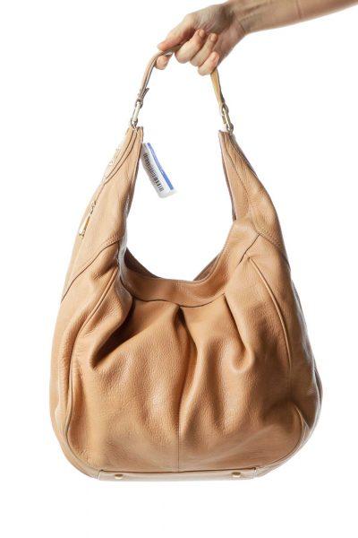 Beige Zipper Detailed Shoulder Bag