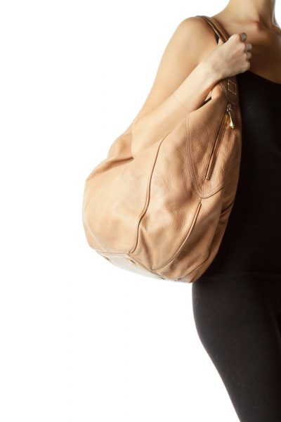 Beige Zipper Detailed Shoulder Bag