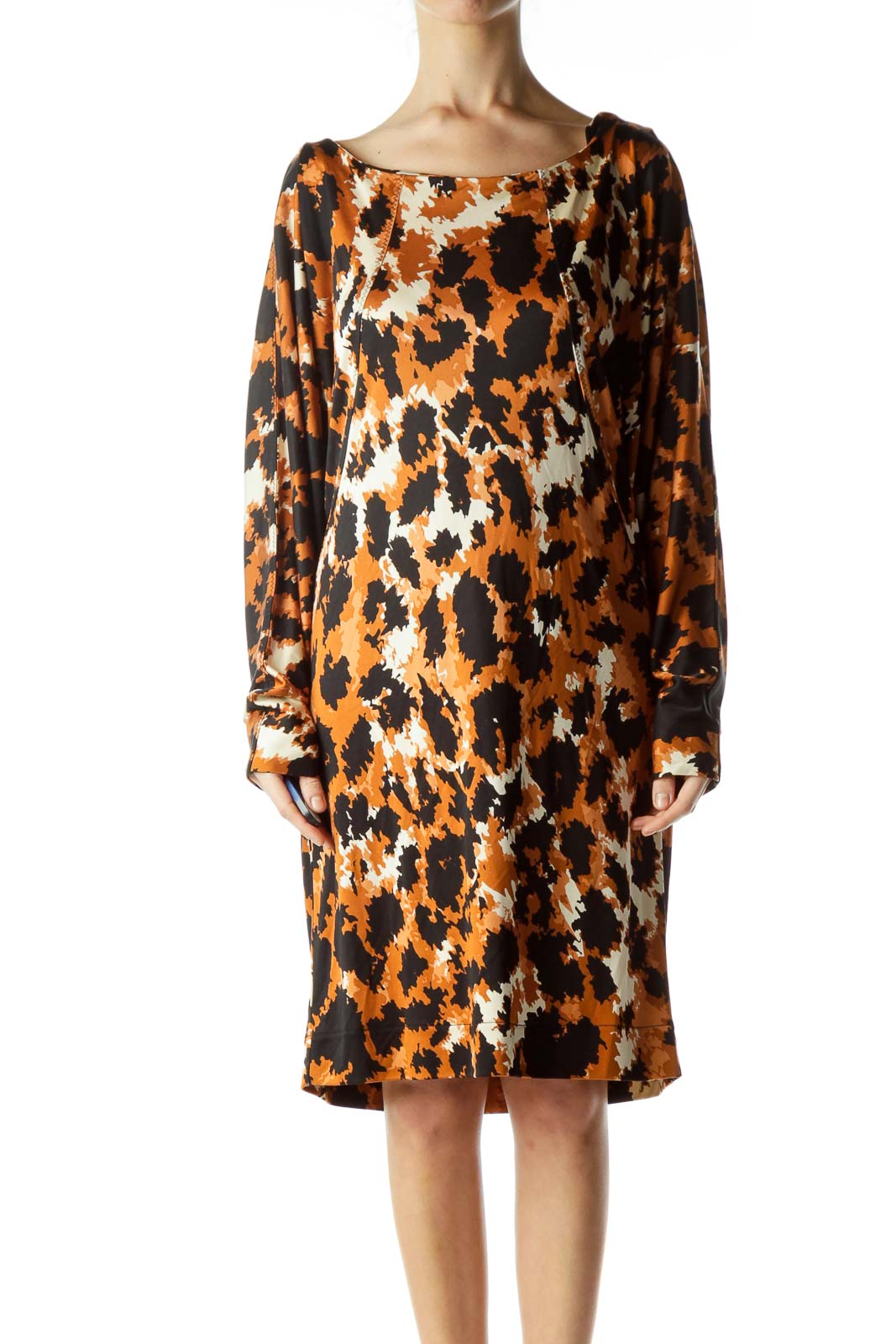 Brown Animal Print Silk Bat Sleeve Dress
