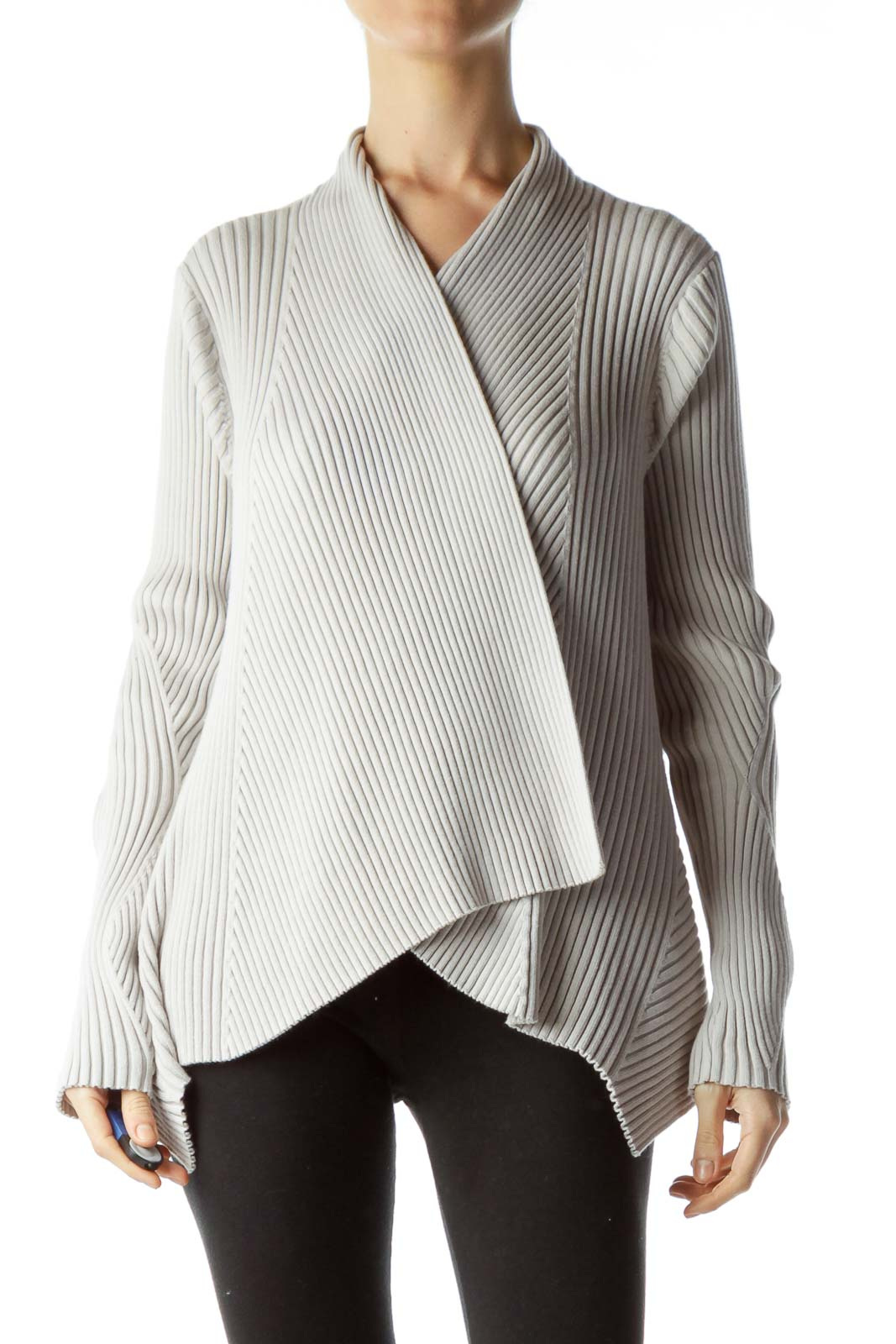 Light Gray Open Front Sweater
