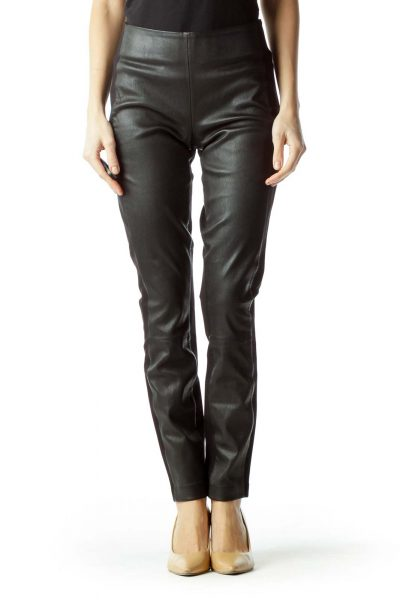 Black High-Waisted Front Leather Slim Pants