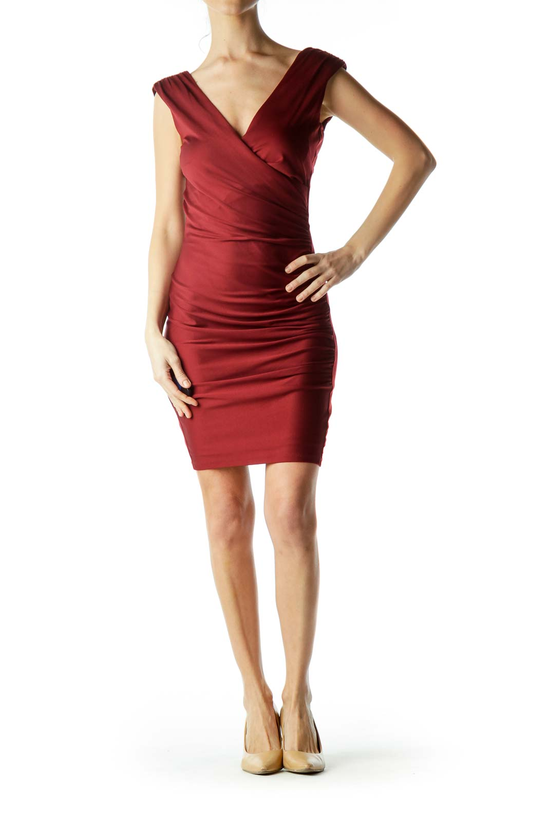 Red Sleeveless Ruched Bodycon Dress