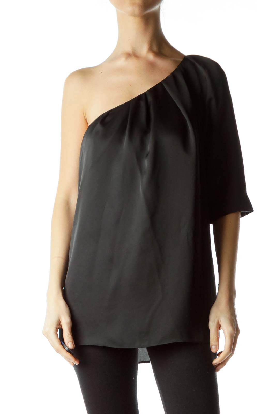 Black One-Shoulder Box Top