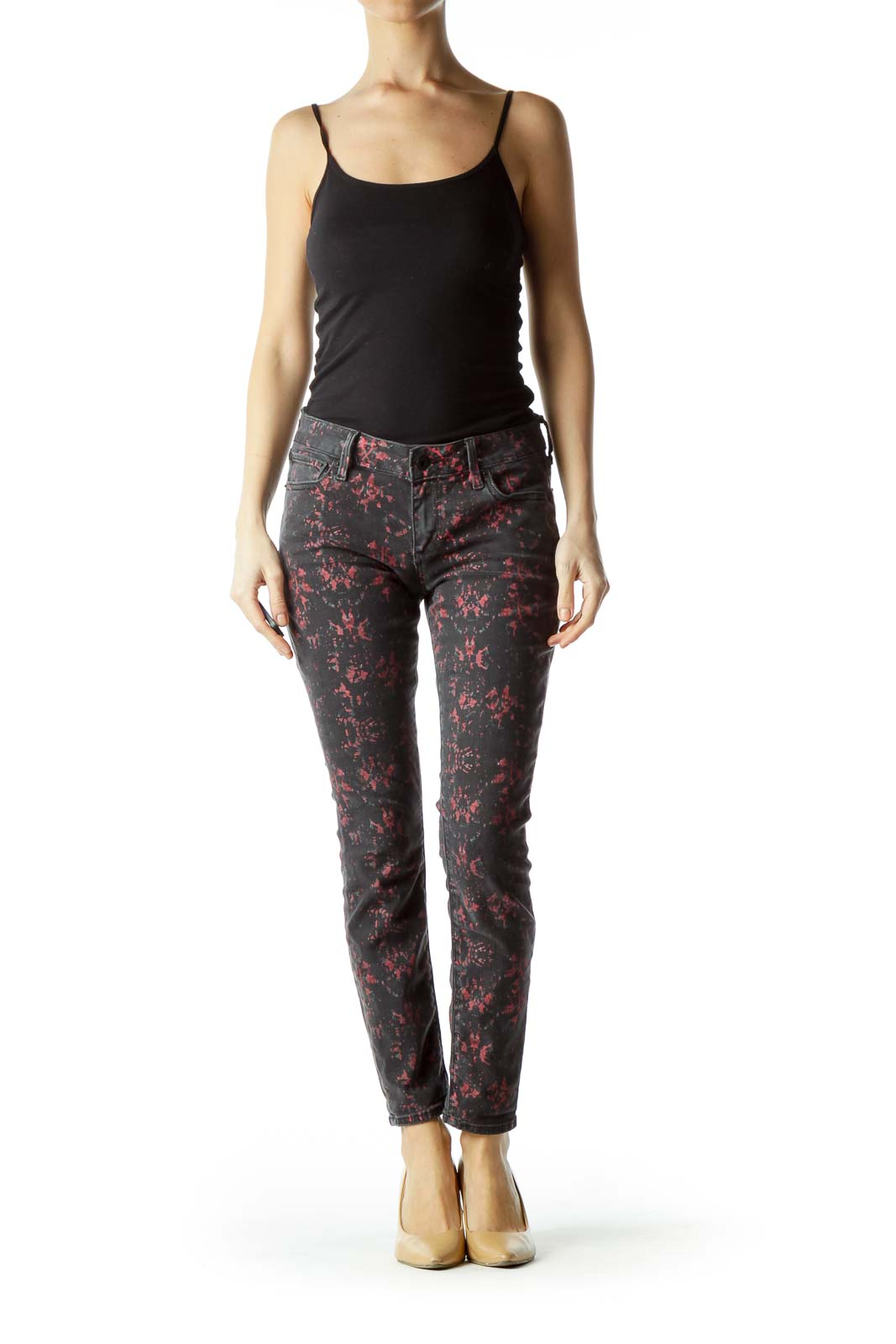 Black Red Print Denim Skinny Jeans