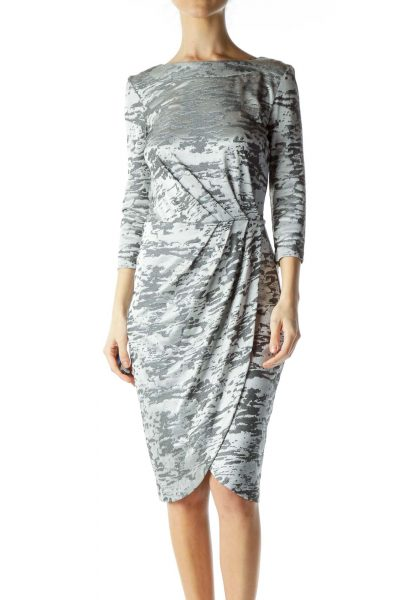 Silver Shiny Sheath Dress