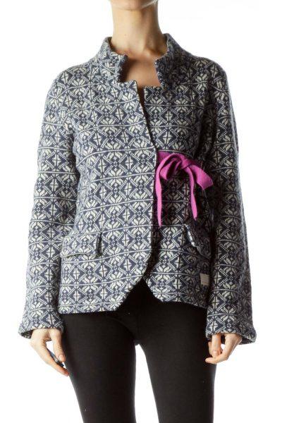 Navy Cream Pattern Knit Belted Jacket