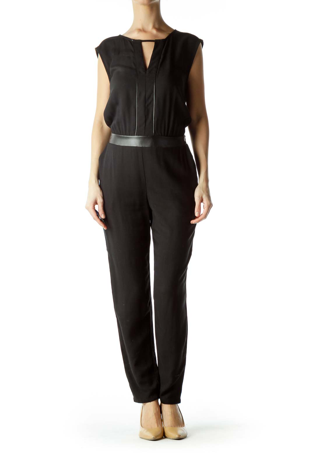 Black Sleeveless Jumpsuit with Leather Trim