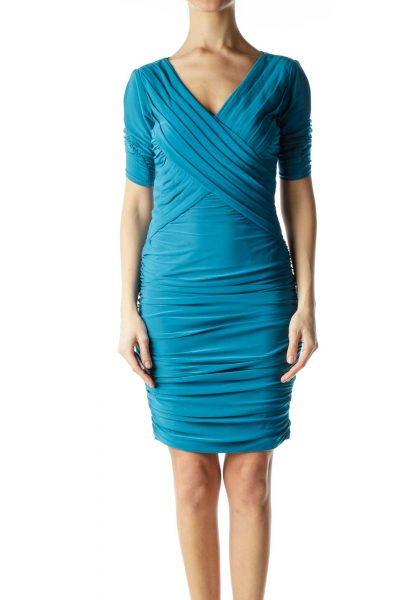 Green Ruched V-Neck Dress