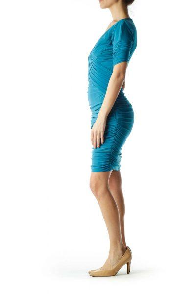 Green Ruched V-Neck Dress