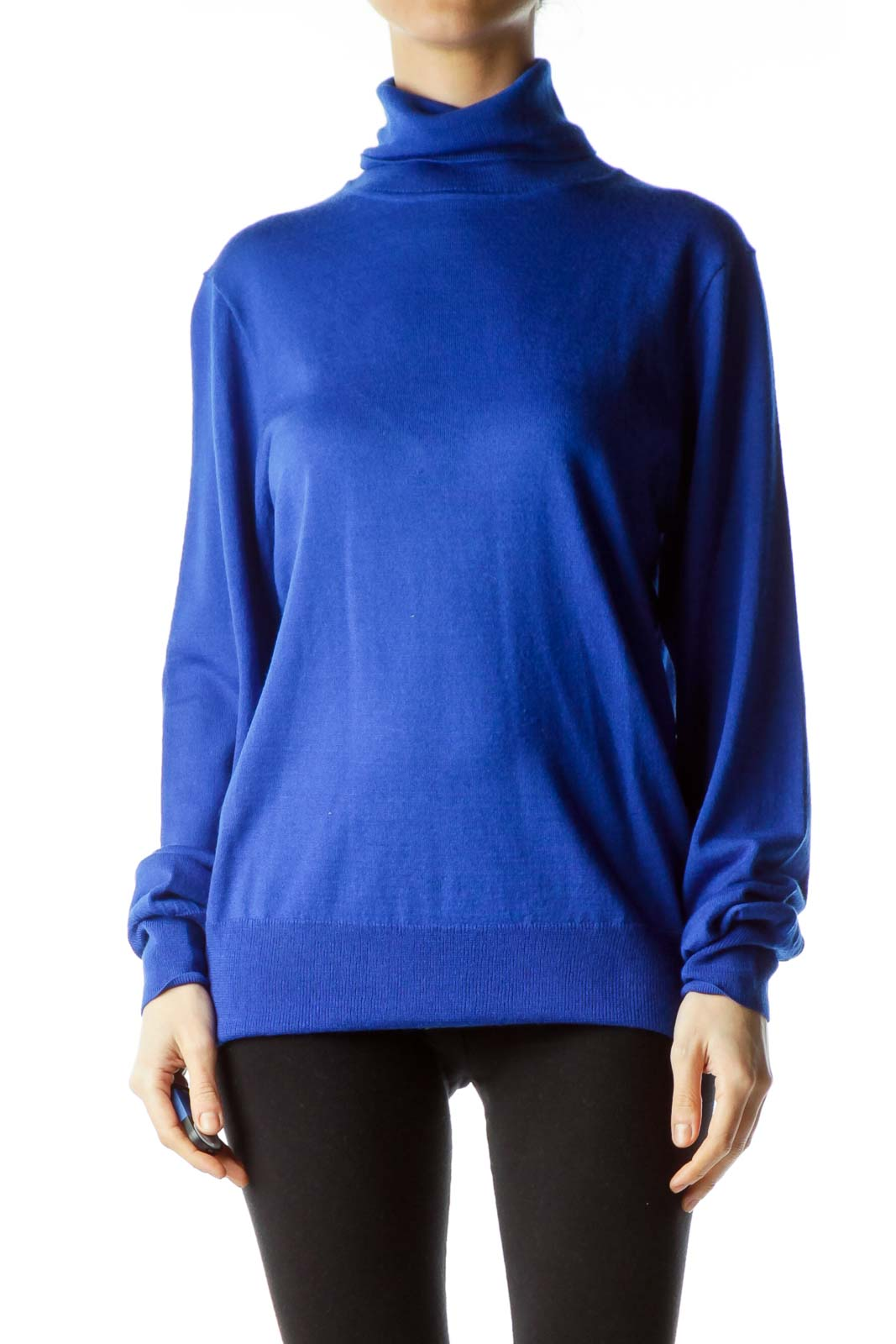 Blue Merino Wool Turtle Neck Knit Sweater