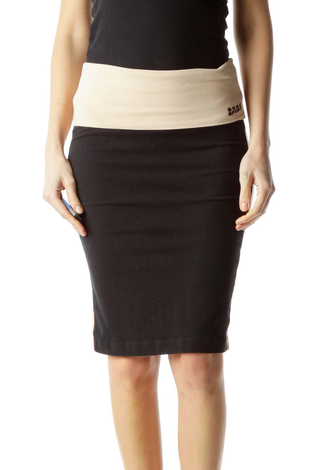 Black Beige Sport Slim Skirt