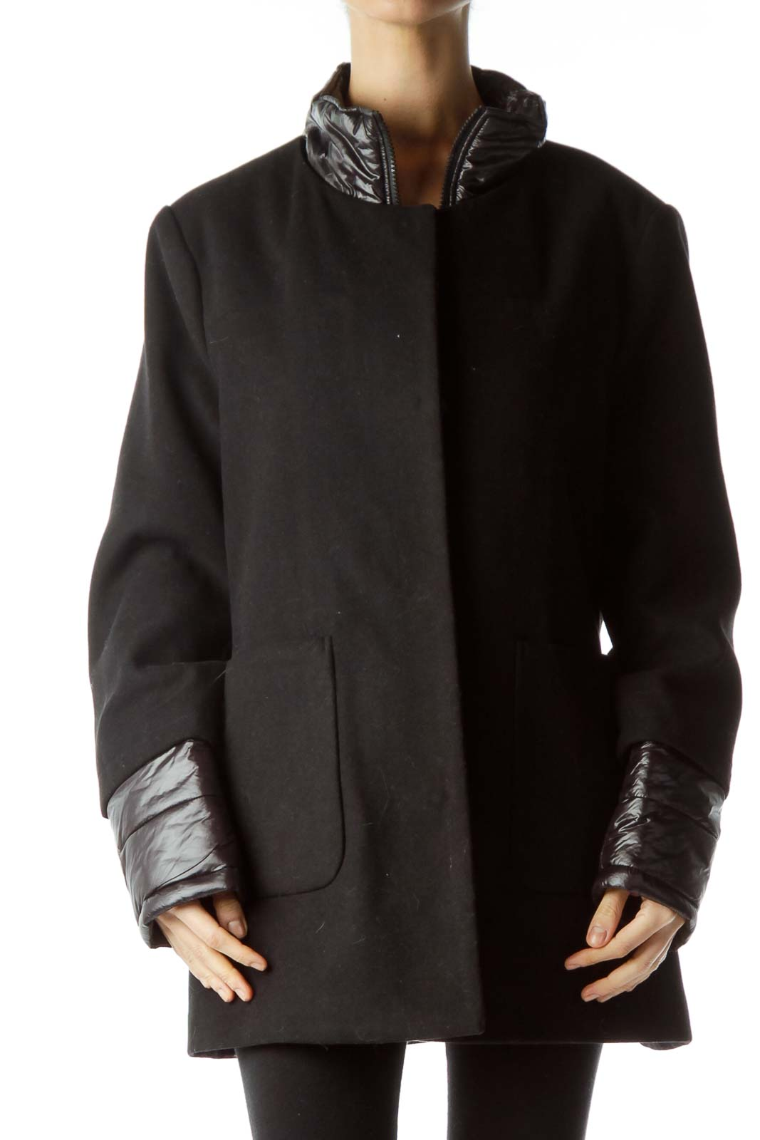 Black Padded Detailed Single Breasted Coat