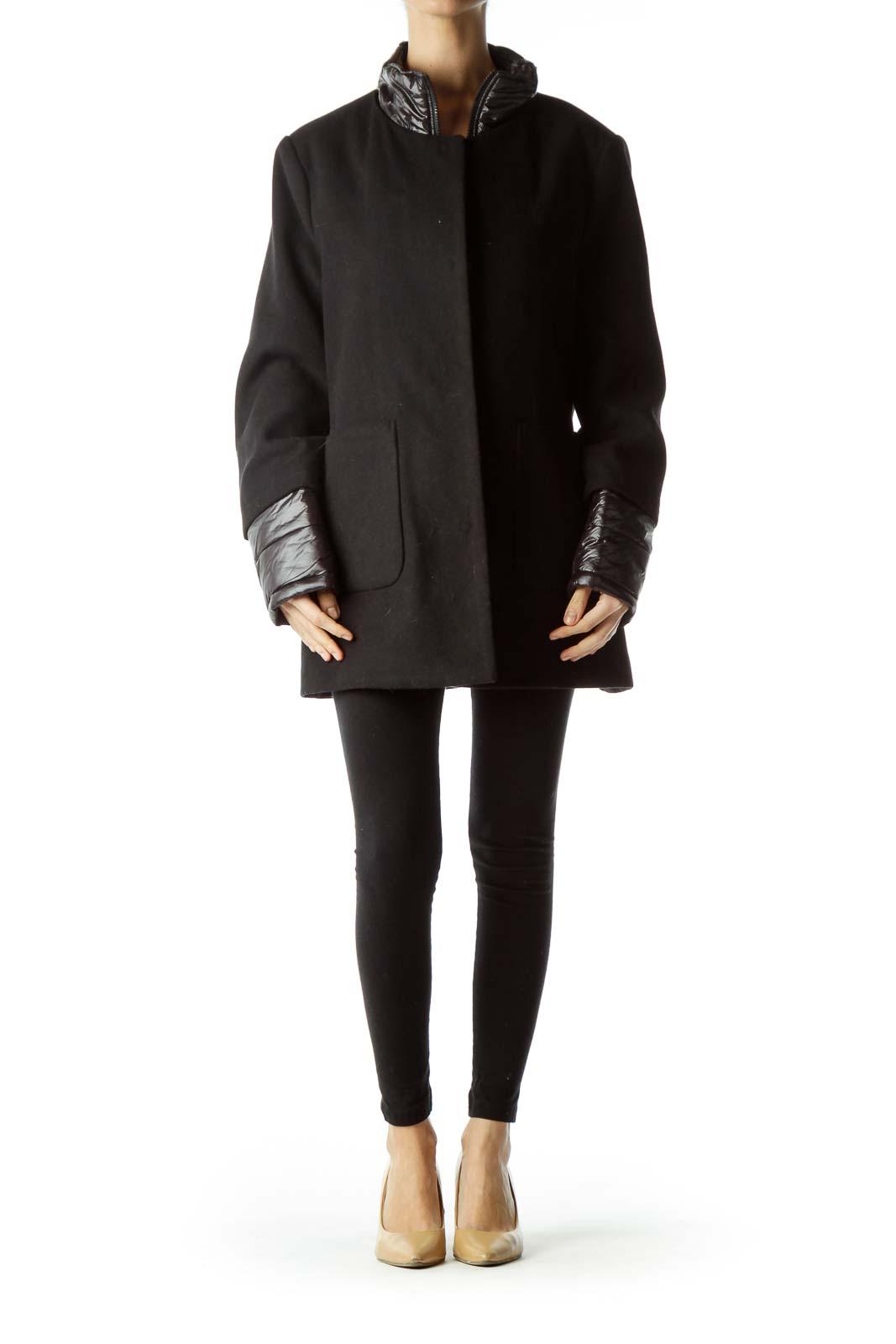 Black Padded Detailed Single Breasted Coat