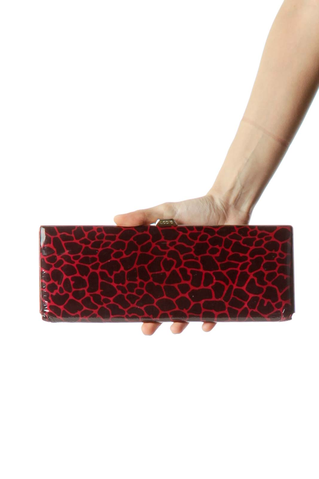 Black Red Animal Print Patent Clutch