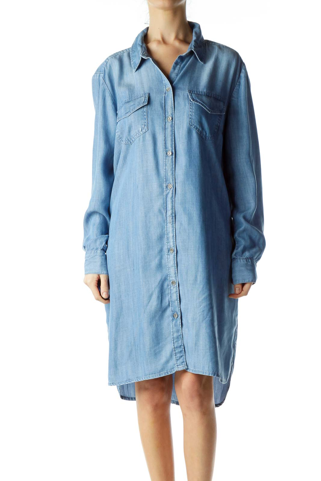 Blue Buttoned Long Sleeve Denim Dress